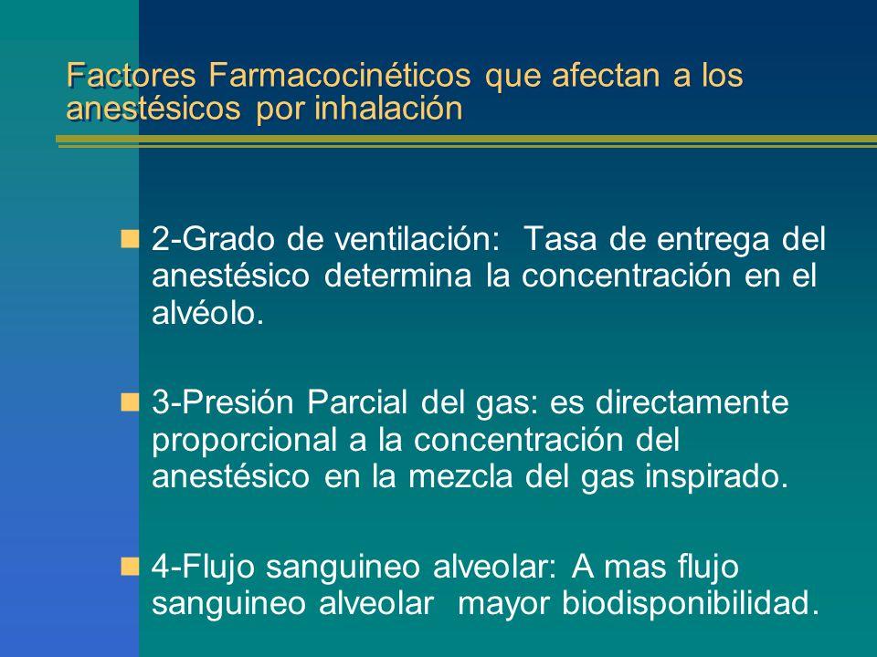 Factores Farmacocinéticos que afectan a los anestésicos por inhalación 2-Grado de ventilación: Tasa de entrega del anestésico determina la concentraci