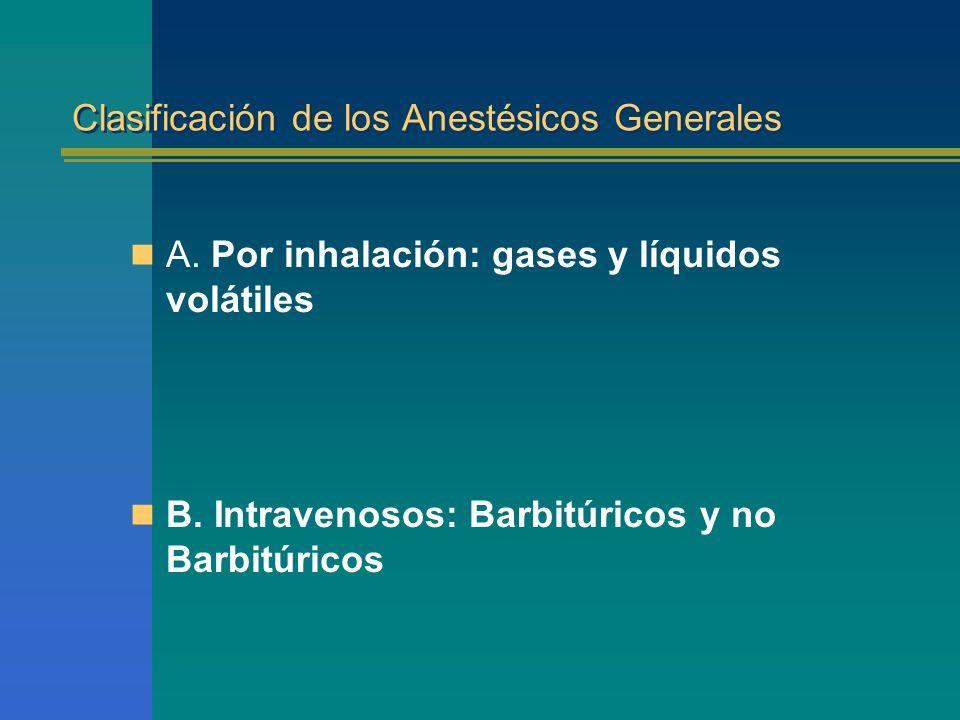 Clasificación de los Anestésicos Generales A. Por inhalación: gases y líquidos volátiles B. Intravenosos: Barbitúricos y no Barbitúricos