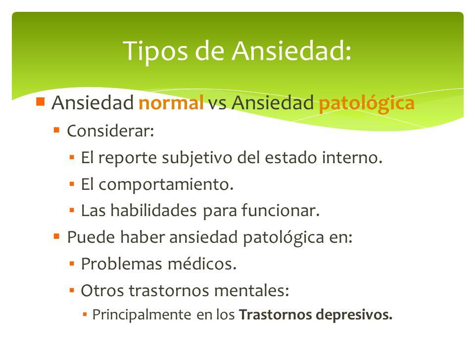 Ansiedad normal vs Ansiedad patológica Considerar: El reporte subjetivo del estado interno. El comportamiento. Las habilidades para funcionar. Puede h