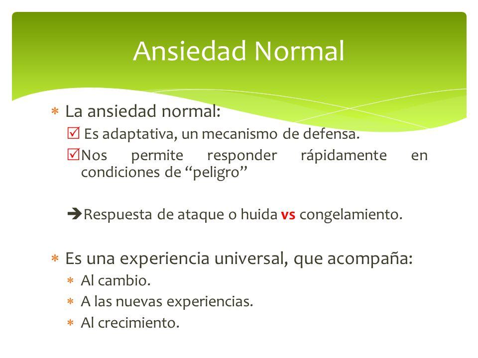 La ansiedad normal: Es adaptativa, un mecanismo de defensa. Nos permite responder rápidamente en condiciones de peligro Respuesta de ataque o huida vs
