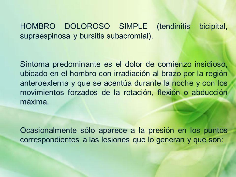 HOMBRO DOLOROSO SIMPLE (tendinitis bicipital, supraespinosa y bursitis subacromial). Síntoma predominante es el dolor de comienzo insidioso, ubicado e