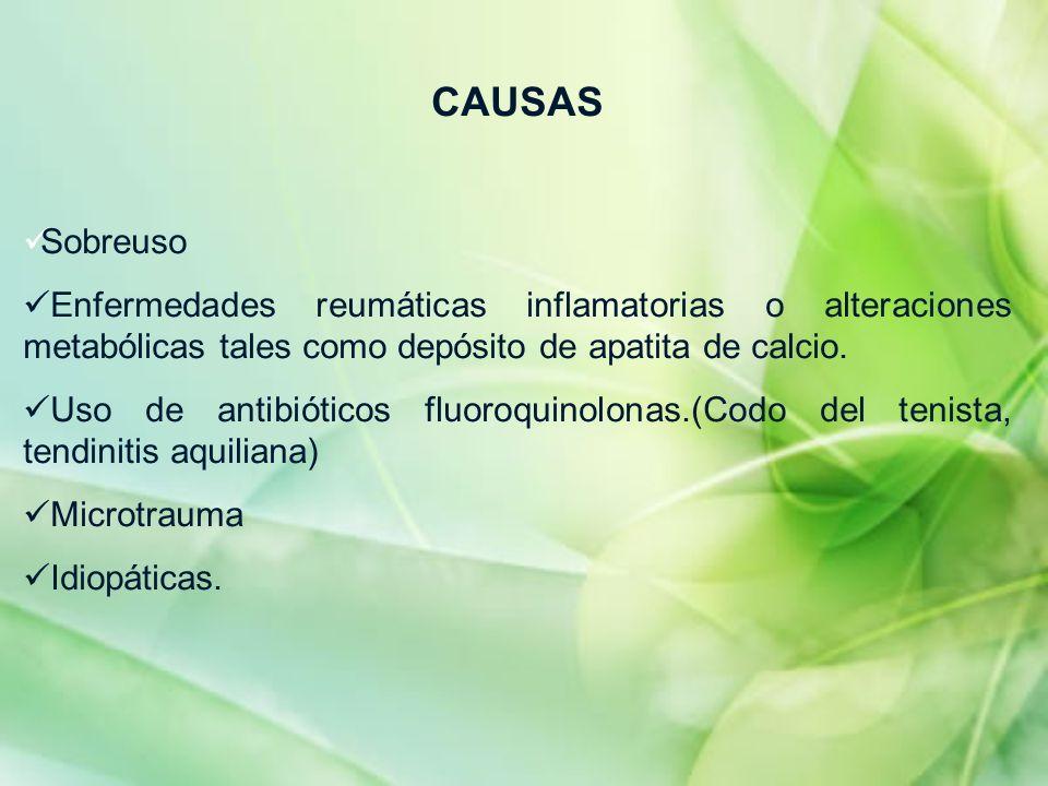 CAUSAS Sobreuso Enfermedades reumáticas inflamatorias o alteraciones metabólicas tales como depósito de apatita de calcio. Uso de antibióticos fluoroq