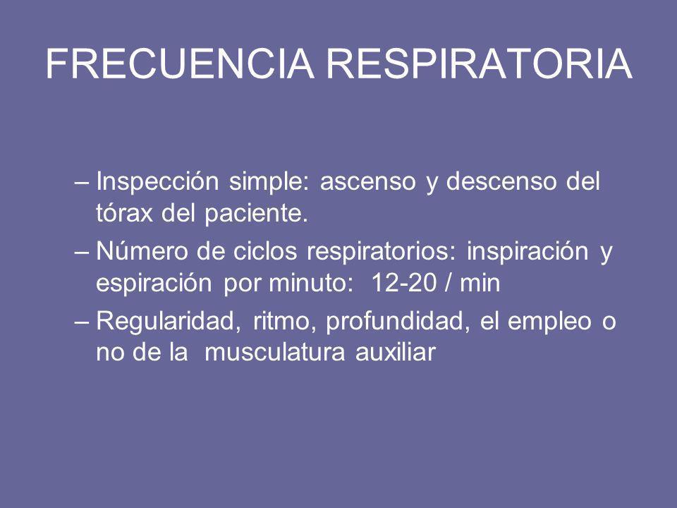 FRECUENCIA RESPIRATORIA –Inspección simple: ascenso y descenso del tórax del paciente. –Número de ciclos respiratorios: inspiración y espiración por m