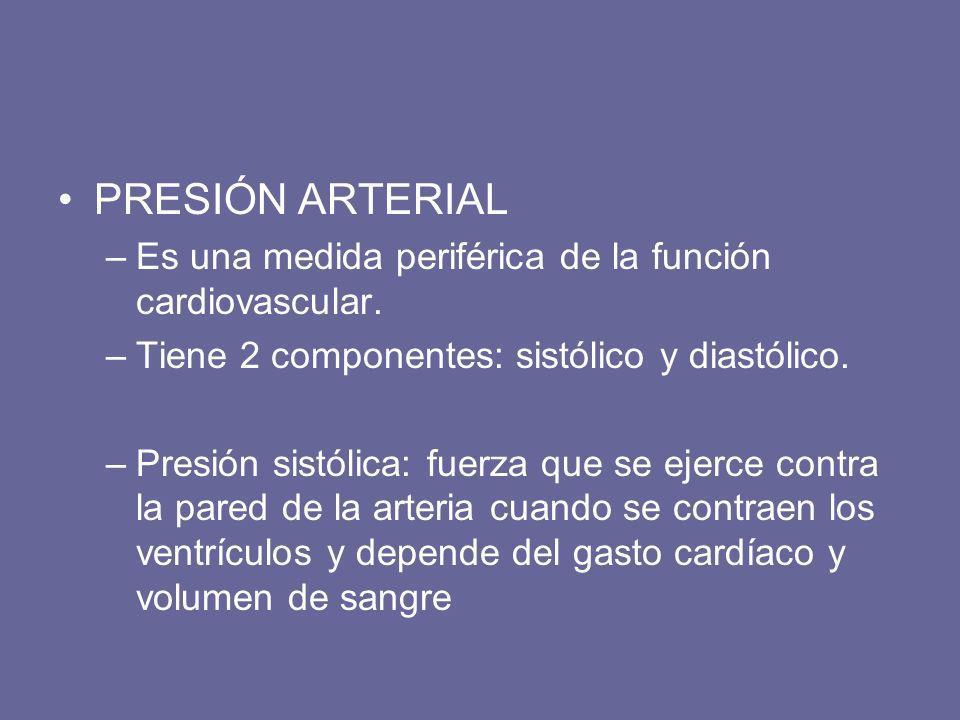 –Es una medida periférica de la función cardiovascular. –Tiene 2 componentes: sistólico y diastólico. –Presión sistólica: fuerza que se ejerce contra