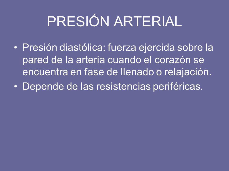PRESIÓN ARTERIAL Presión diastólica: fuerza ejercida sobre la pared de la arteria cuando el corazón se encuentra en fase de llenado o relajación. Depe