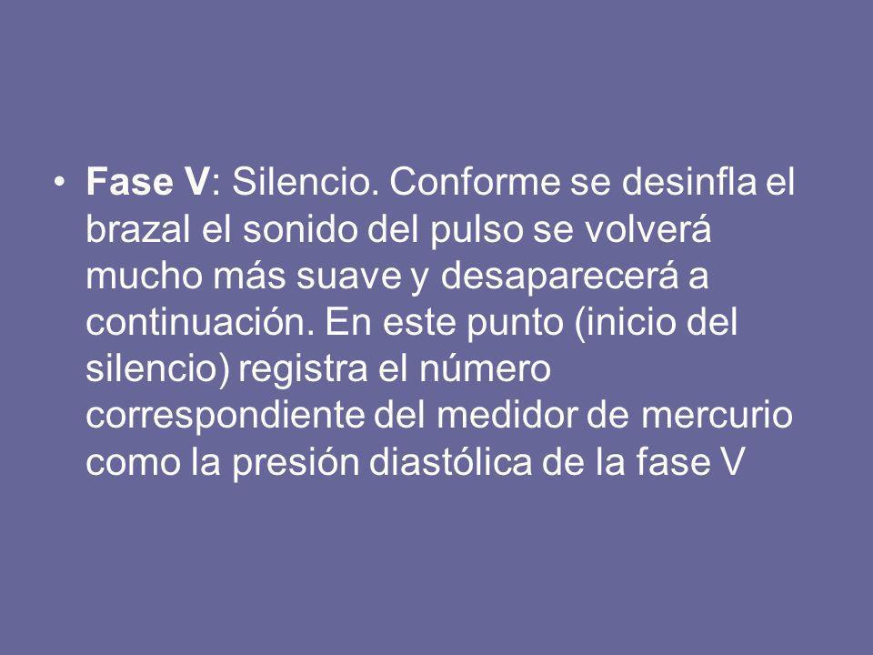 Fase V: Silencio. Conforme se desinfla el brazal el sonido del pulso se volverá mucho más suave y desaparecerá a continuación. En este punto (inicio d