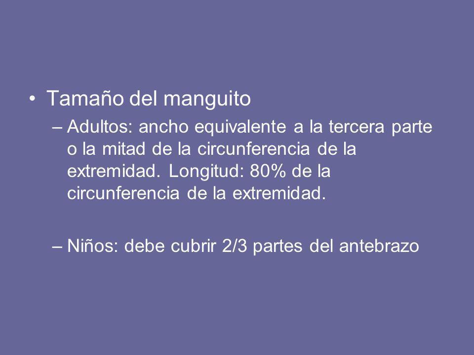 Tamaño del manguito –Adultos: ancho equivalente a la tercera parte o la mitad de la circunferencia de la extremidad. Longitud: 80% de la circunferenci