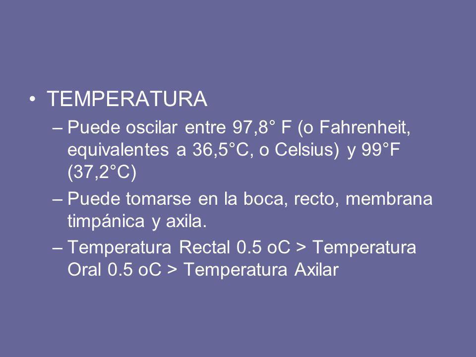TEMPERATURA –Puede oscilar entre 97,8° F (o Fahrenheit, equivalentes a 36,5°C, o Celsius) y 99°F (37,2°C) –Puede tomarse en la boca, recto, membrana t