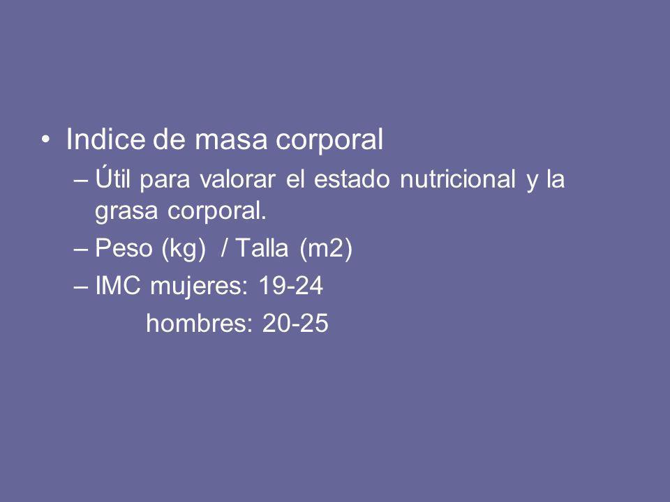 Indice de masa corporal –Útil para valorar el estado nutricional y la grasa corporal. –Peso (kg) / Talla (m2) –IMC mujeres: 19-24 hombres: 20-25