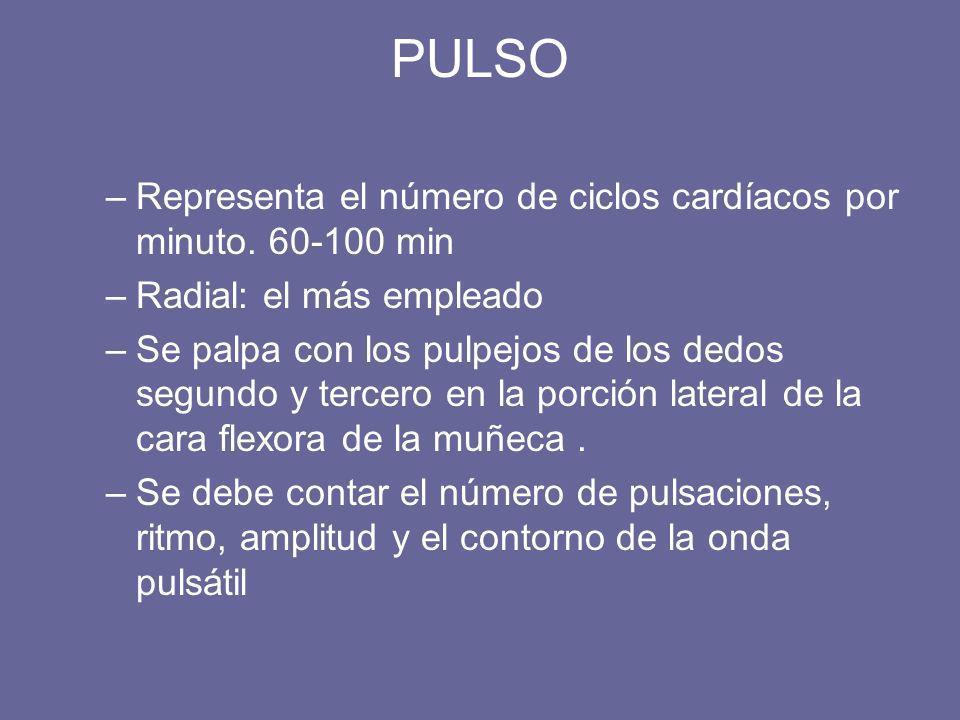 PULSO –Representa el número de ciclos cardíacos por minuto. 60-100 min –Radial: el más empleado –Se palpa con los pulpejos de los dedos segundo y terc