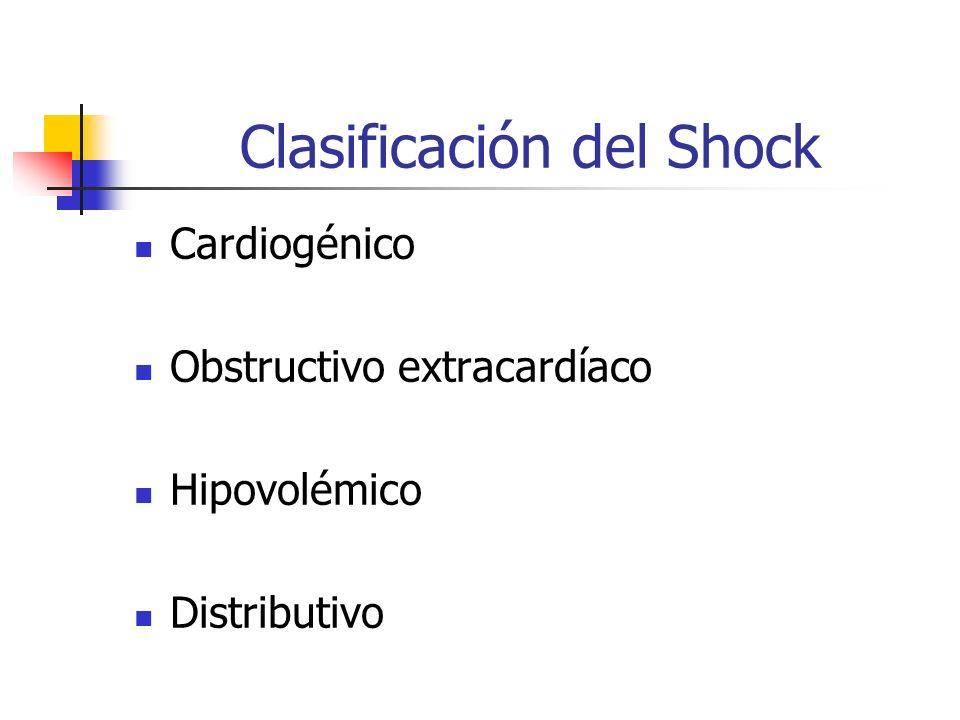 Clasificación del Shock Cardiogénico Obstructivo extracardíaco Hipovolémico Distributivo