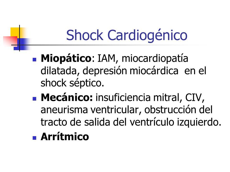 Shock Cardiogénico Miopático: IAM, miocardiopatía dilatada, depresión miocárdica en el shock séptico. Mecánico: insuficiencia mitral, CIV, aneurisma v