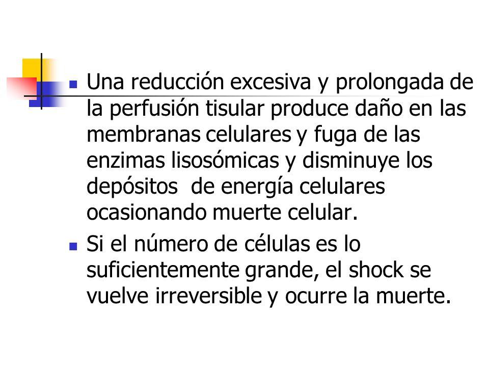 Una reducción excesiva y prolongada de la perfusión tisular produce daño en las membranas celulares y fuga de las enzimas lisosómicas y disminuye los