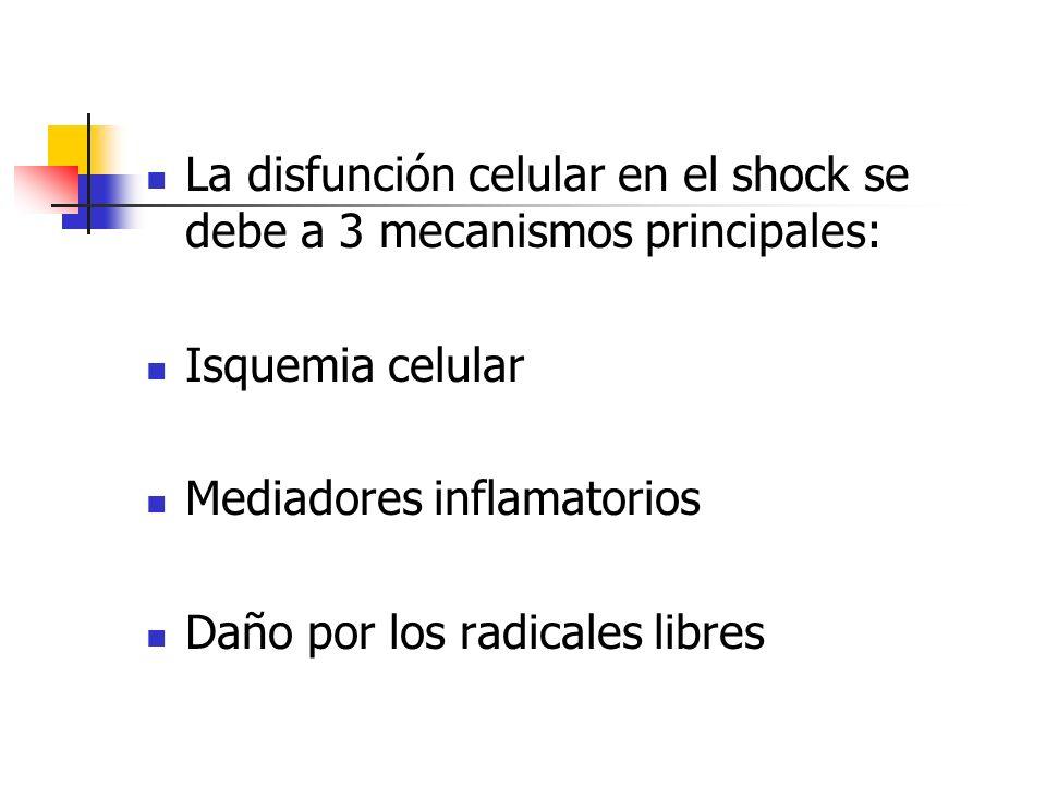 La disfunción celular en el shock se debe a 3 mecanismos principales: Isquemia celular Mediadores inflamatorios Daño por los radicales libres