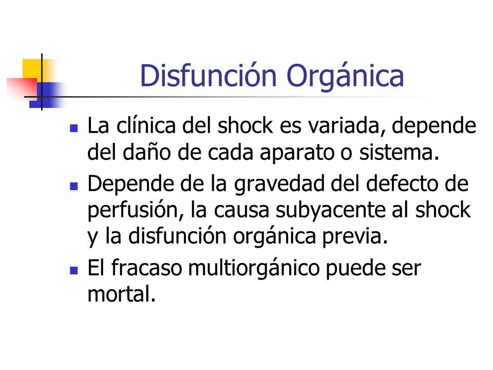 Disfunción Orgánica La clínica del shock es variada, depende del daño de cada aparato o sistema. Depende de la gravedad del defecto de perfusión, la c