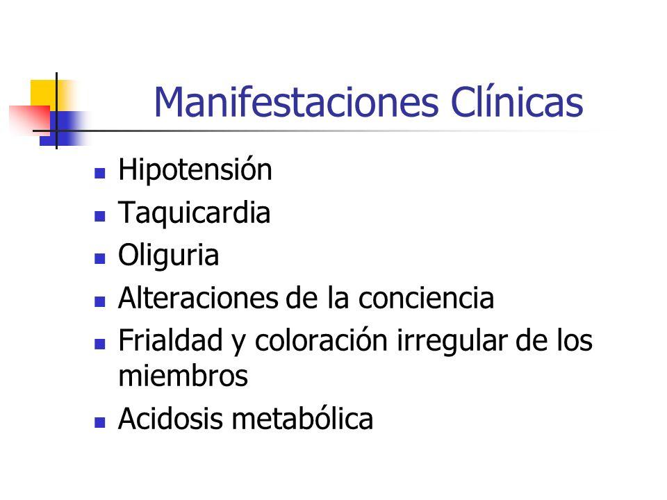Manifestaciones Clínicas Hipotensión Taquicardia Oliguria Alteraciones de la conciencia Frialdad y coloración irregular de los miembros Acidosis metab