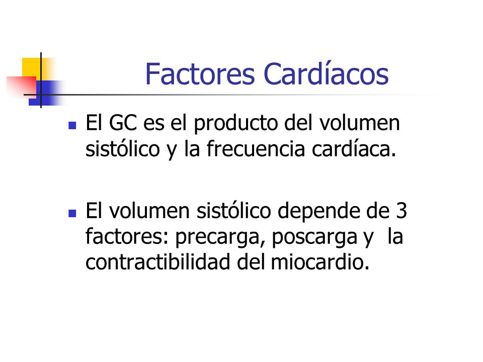 Factores Cardíacos El GC es el producto del volumen sistólico y la frecuencia cardíaca. El volumen sistólico depende de 3 factores: precarga, poscarga