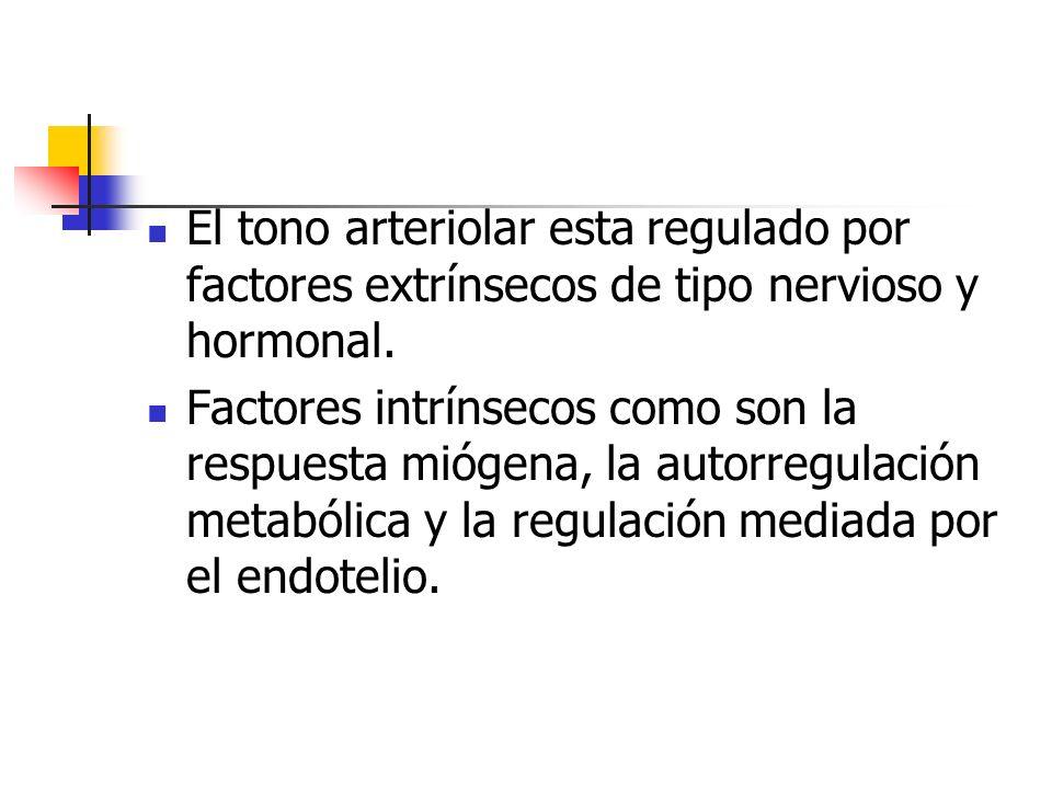 El tono arteriolar esta regulado por factores extrínsecos de tipo nervioso y hormonal. Factores intrínsecos como son la respuesta miógena, la autorreg