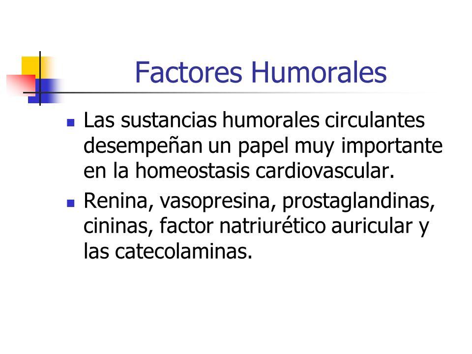 Factores Humorales Las sustancias humorales circulantes desempeñan un papel muy importante en la homeostasis cardiovascular. Renina, vasopresina, pros