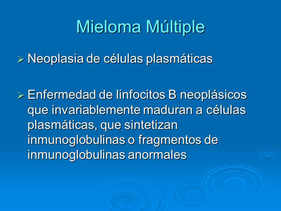 Para recordar Para el diagnóstico es necesaria Para el diagnóstico es necesaria Electroforesis de proteinas en sangre u orina, que presente pico monoclonal.