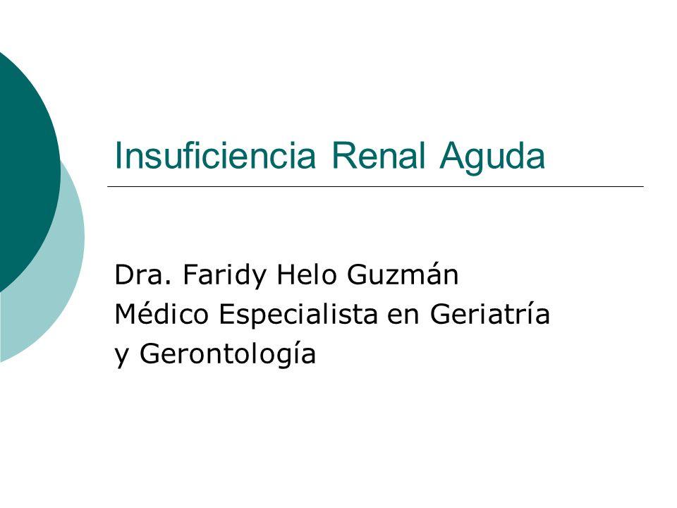 Insuficiencia Renal Aguda Dra. Faridy Helo Guzmán Médico Especialista en Geriatría y Gerontología