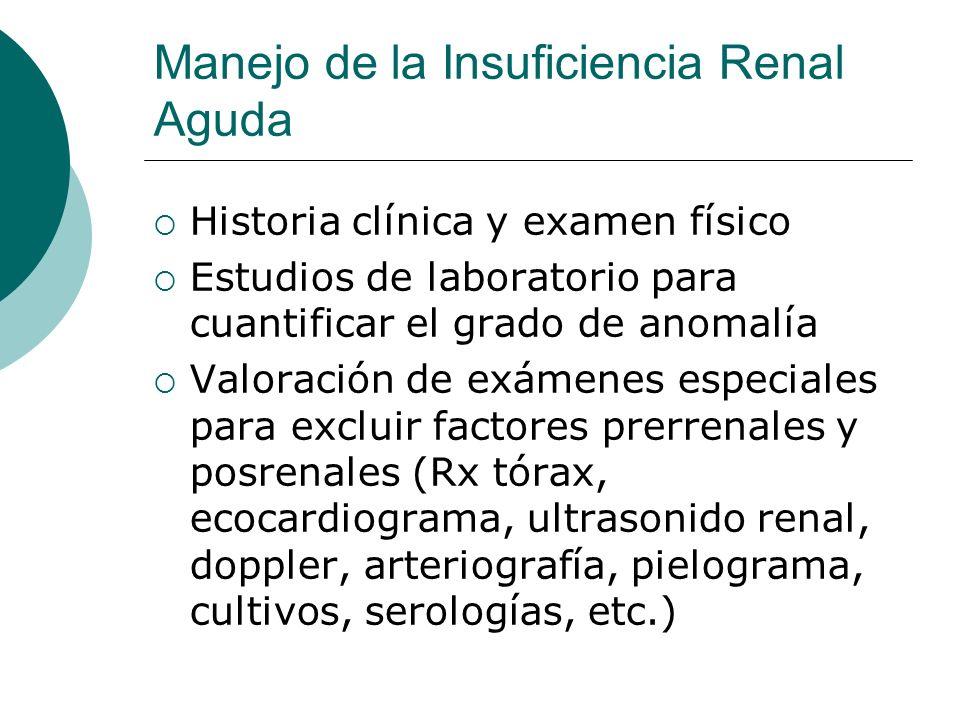 Manejo de la Insuficiencia Renal Aguda Historia clínica y examen físico Estudios de laboratorio para cuantificar el grado de anomalía Valoración de ex