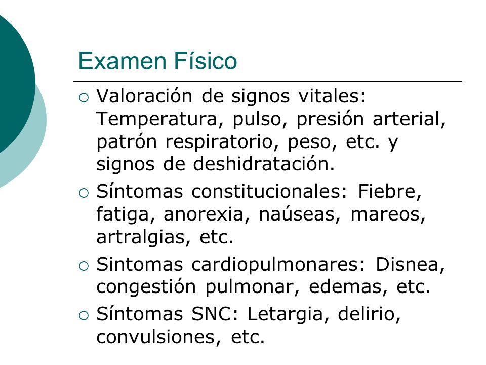 Examen Físico Valoración de signos vitales: Temperatura, pulso, presión arterial, patrón respiratorio, peso, etc. y signos de deshidratación. Síntomas