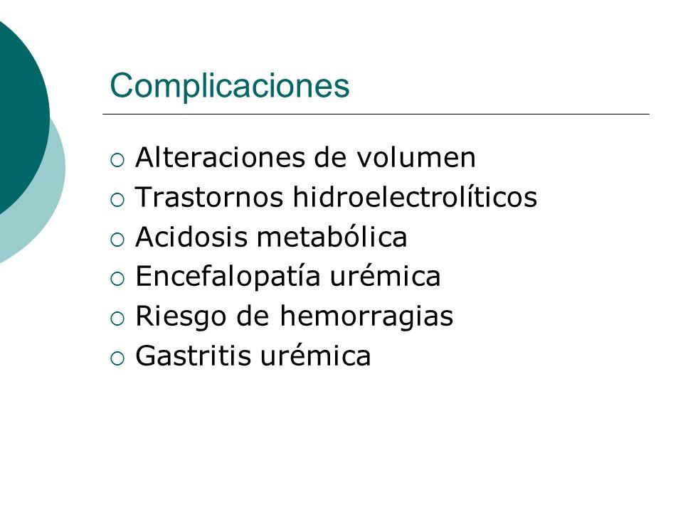 Complicaciones Alteraciones de volumen Trastornos hidroelectrolíticos Acidosis metabólica Encefalopatía urémica Riesgo de hemorragias Gastritis urémic