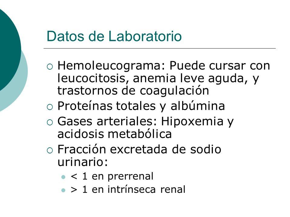 Datos de Laboratorio Hemoleucograma: Puede cursar con leucocitosis, anemia leve aguda, y trastornos de coagulación Proteínas totales y albúmina Gases