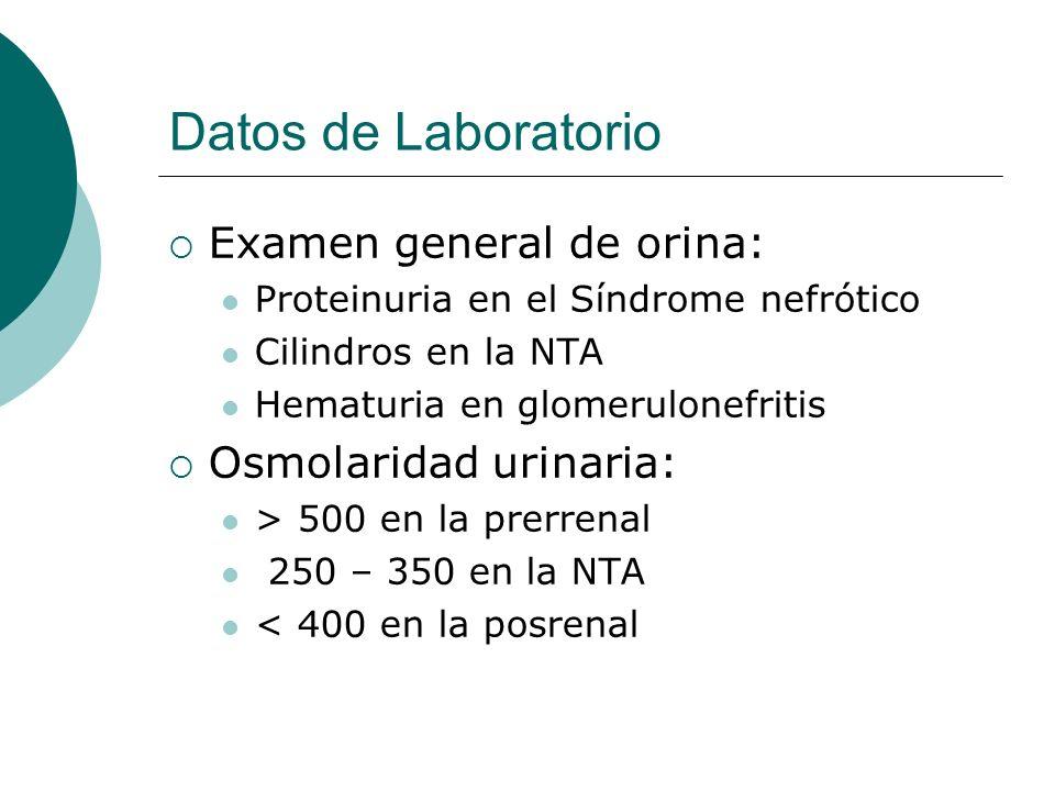 Datos de Laboratorio Examen general de orina: Proteinuria en el Síndrome nefrótico Cilindros en la NTA Hematuria en glomerulonefritis Osmolaridad urin