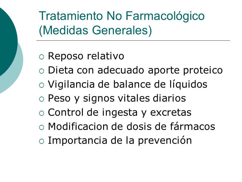 Tratamiento No Farmacológico (Medidas Generales) Reposo relativo Dieta con adecuado aporte proteico Vigilancia de balance de líquidos Peso y signos vi