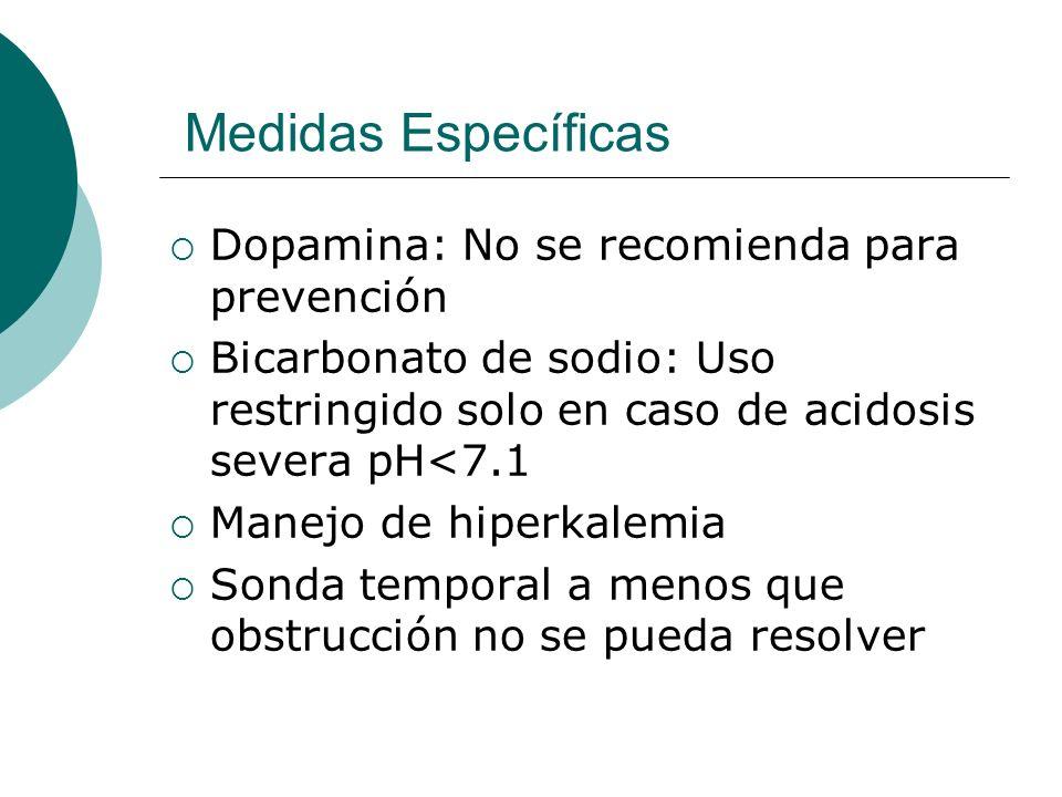 Medidas Específicas Dopamina: No se recomienda para prevención Bicarbonato de sodio: Uso restringido solo en caso de acidosis severa pH<7.1 Manejo de
