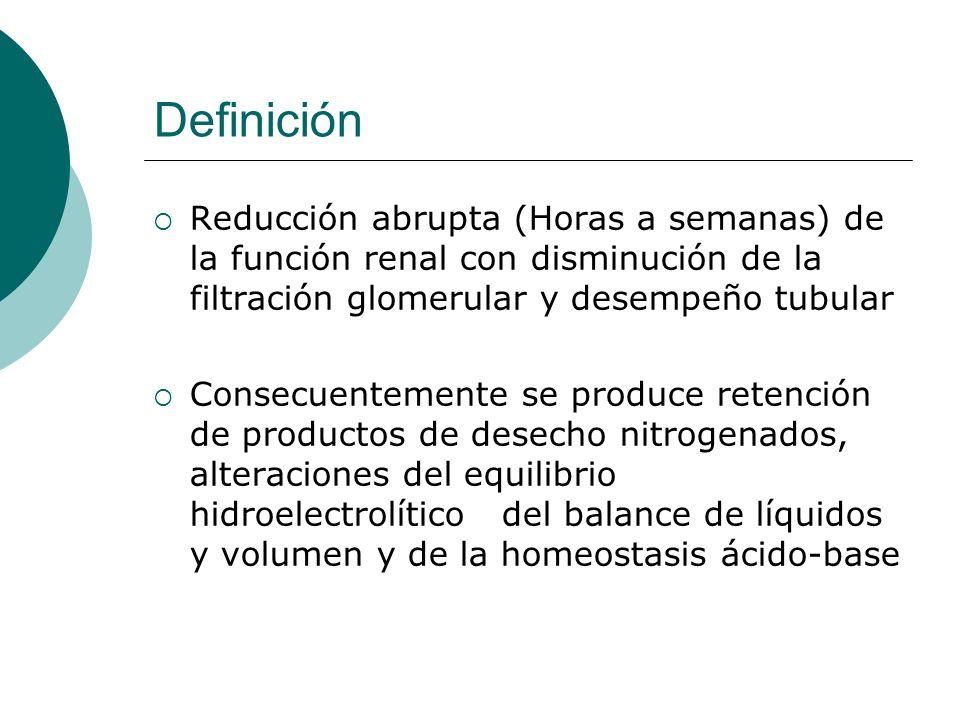 Definición Reducción abrupta (Horas a semanas) de la función renal con disminución de la filtración glomerular y desempeño tubular Consecuentemente se