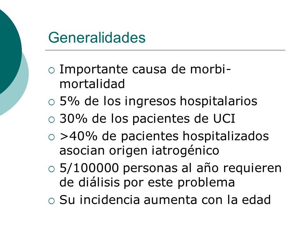 Generalidades Importante causa de morbi- mortalidad 5% de los ingresos hospitalarios 30% de los pacientes de UCI >40% de pacientes hospitalizados asoc