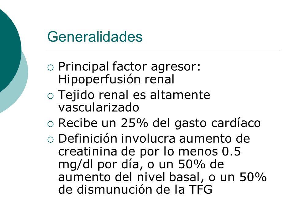 Clasificación Origen prerrenal Hipovolemia (Disminución o redistribución del LEC) Bajo gasto cardíaco Trastornos de resistencias vasculares renales y sistémicas Hipoperfusión con fallo de autorregulación Origen renal Enfermedades de grandes vasos Enfermedades de pequeños vasos Necrosis tubular aguda Nefritis intersticial Origen posrenal Uretra Cuello de vejiga Ureteral