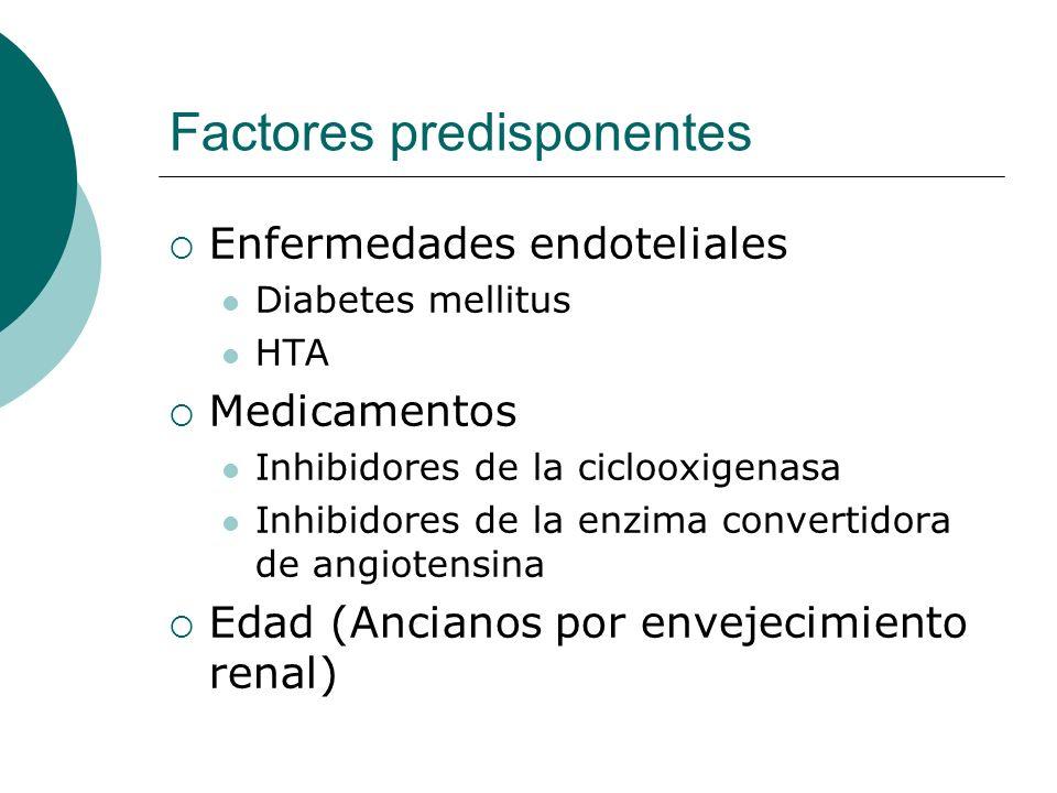 Factores predisponentes Enfermedades endoteliales Diabetes mellitus HTA Medicamentos Inhibidores de la ciclooxigenasa Inhibidores de la enzima convert
