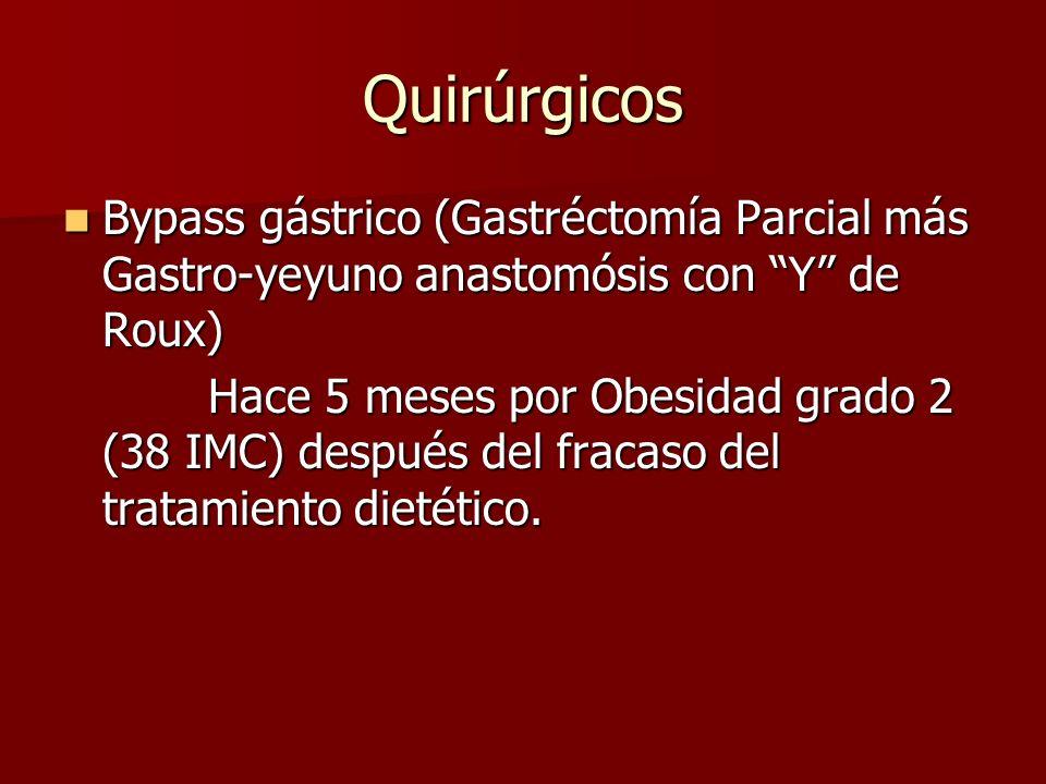 Principales Complicaciones Tempranas: Tempranas: Fuga de la anastomosis 1-4% Fuga de la anastomosis 1-4% Infección de herida quirúrgica 2% Infección de herida quirúrgica 2% Edema de la boca anastomotica 2% Edema de la boca anastomotica 2% Tardías: Tardías: Desnutrición, Vómito, Diarrea, Colelitiasis, Ulceración de la boca anastomotica, Oclusión Intestinal.