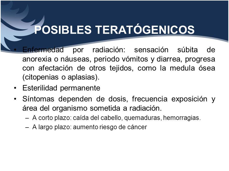POSIBLES TERATÓGENICOS Enfermedad por radiación: sensación súbita de anorexia o náuseas, periodo vómitos y diarrea, progresa con afectación de otros t
