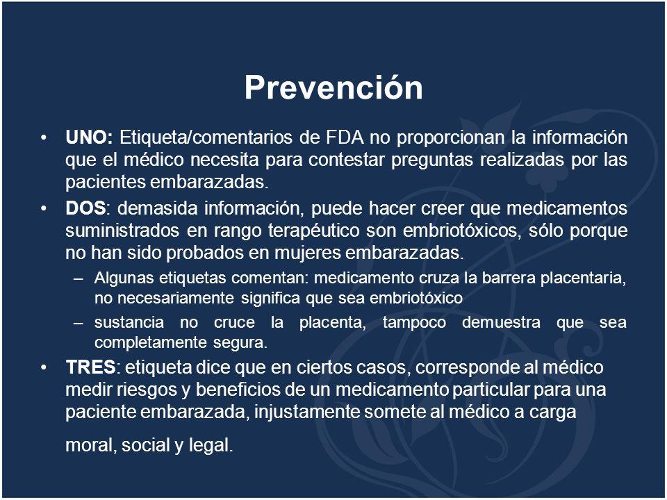 Prevención UNO: Etiqueta/comentarios de FDA no proporcionan la información que el médico necesita para contestar preguntas realizadas por las paciente