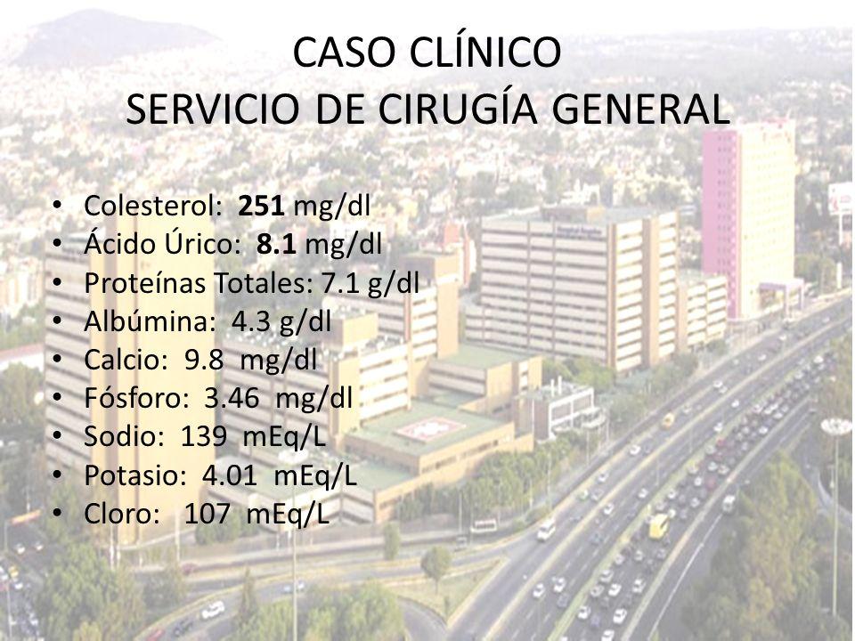 Colesterol: 251 mg/dl Ácido Úrico: 8.1 mg/dl Proteínas Totales: 7.1 g/dl Albúmina: 4.3 g/dl Calcio: 9.8 mg/dl Fósforo: 3.46 mg/dl Sodio: 139 mEq/L Pot