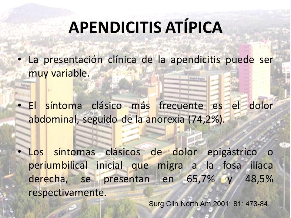 La presentación clínica de la apendicitis puede ser muy variable. El síntoma clásico más frecuente es el dolor abdominal, seguido de la anorexia (74,2