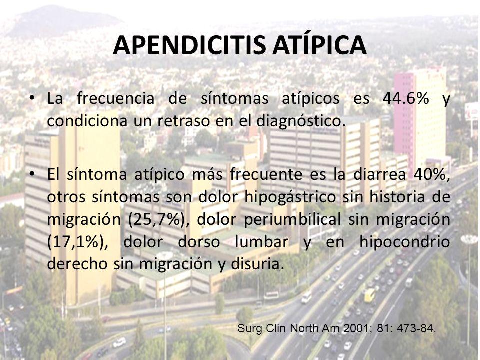 La frecuencia de síntomas atípicos es 44.6% y condiciona un retraso en el diagnóstico. El síntoma atípico más frecuente es la diarrea 40%, otros sínto