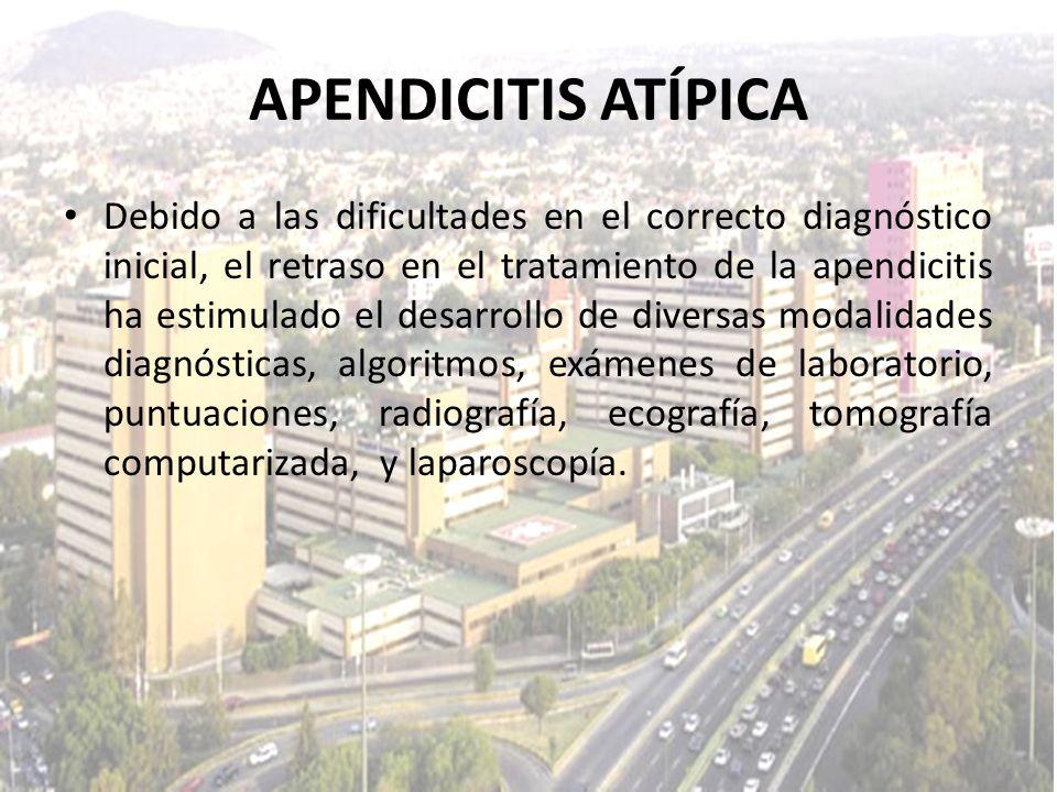 Debido a las dificultades en el correcto diagnóstico inicial, el retraso en el tratamiento de la apendicitis ha estimulado el desarrollo de diversas m