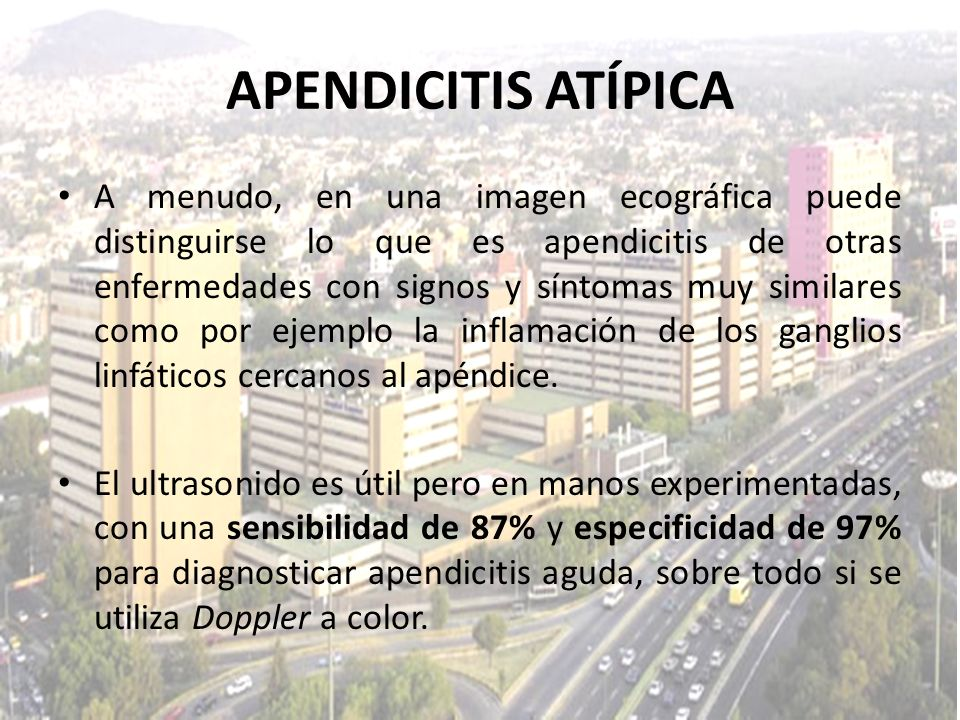 A menudo, en una imagen ecográfica puede distinguirse lo que es apendicitis de otras enfermedades con signos y síntomas muy similares como por ejemplo