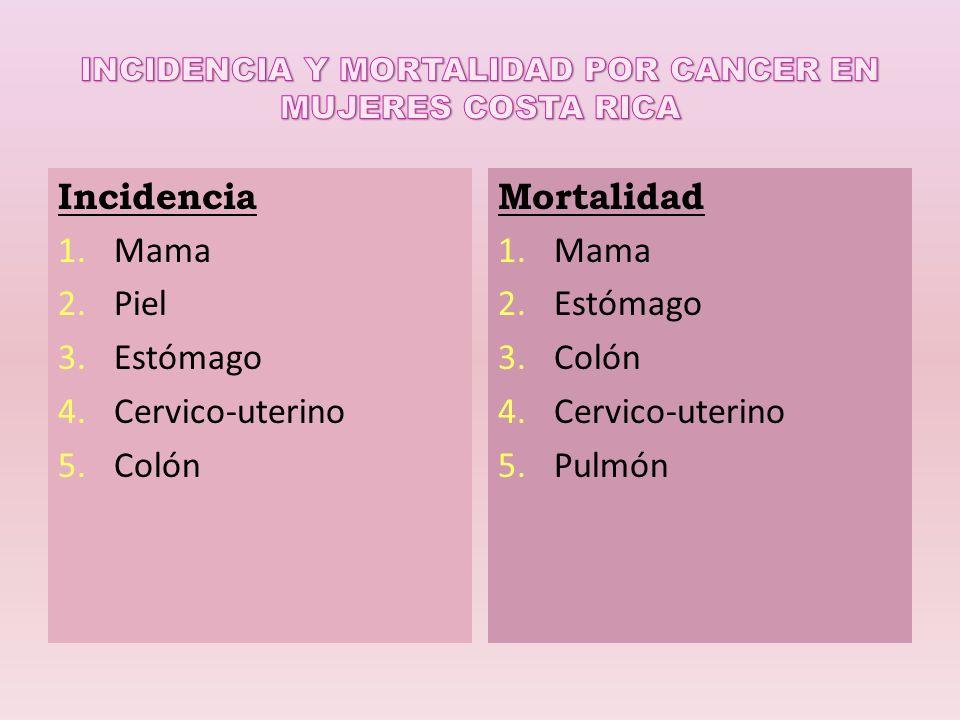 Incidencia 1.Mama 2.Piel 3.Estómago 4.Cervico-uterino 5.Colón Mortalidad 1.Mama 2.Estómago 3.Colón 4.Cervico-uterino 5.Pulmón