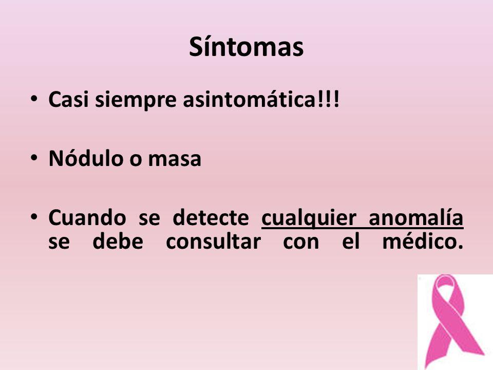 Síntomas Casi siempre asintomática!!! Nódulo o masa Cuando se detecte cualquier anomalía se debe consultar con el médico.