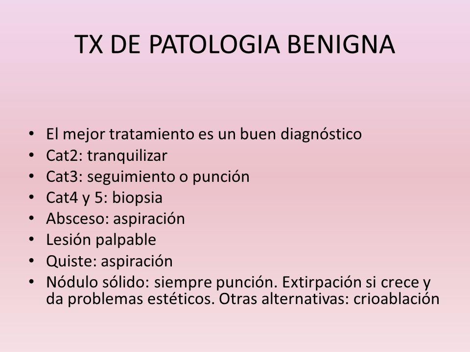 TX DE PATOLOGIA BENIGNA El mejor tratamiento es un buen diagnóstico Cat2: tranquilizar Cat3: seguimiento o punción Cat4 y 5: biopsia Absceso: aspiraci