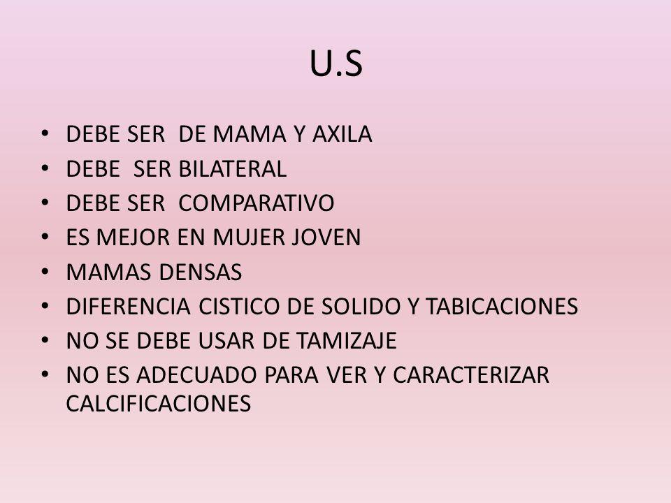U.S DEBE SER DE MAMA Y AXILA DEBE SER BILATERAL DEBE SER COMPARATIVO ES MEJOR EN MUJER JOVEN MAMAS DENSAS DIFERENCIA CISTICO DE SOLIDO Y TABICACIONES