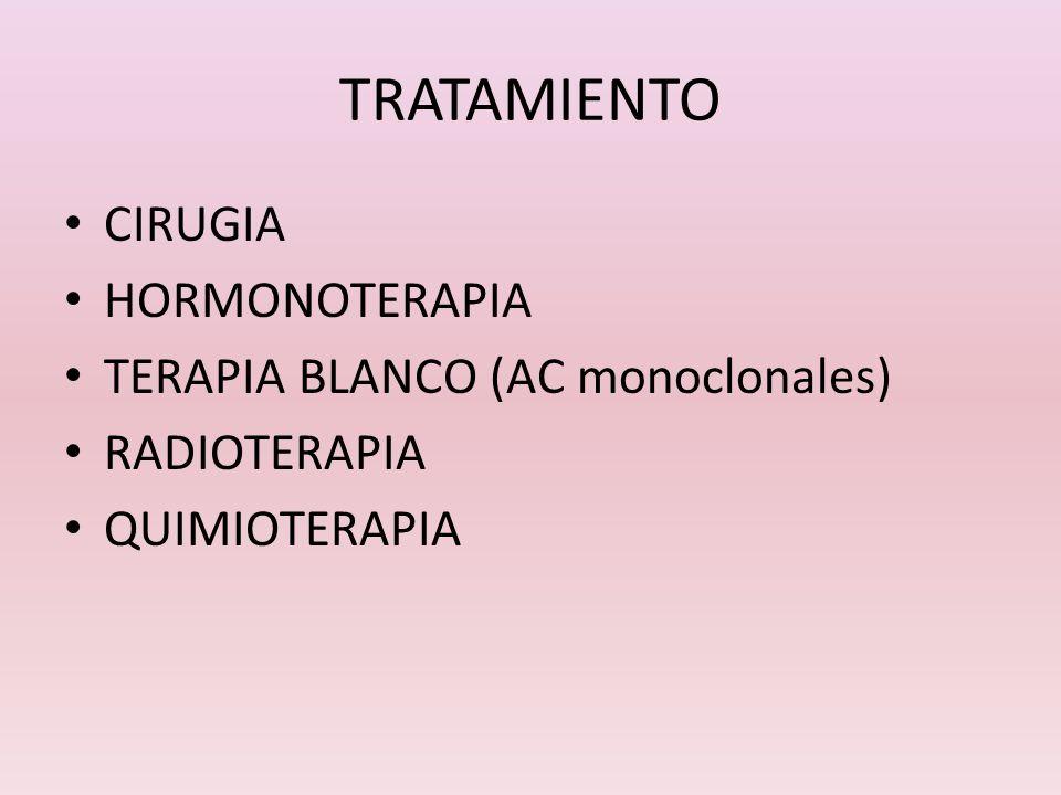 TRATAMIENTO CIRUGIA HORMONOTERAPIA TERAPIA BLANCO (AC monoclonales) RADIOTERAPIA QUIMIOTERAPIA
