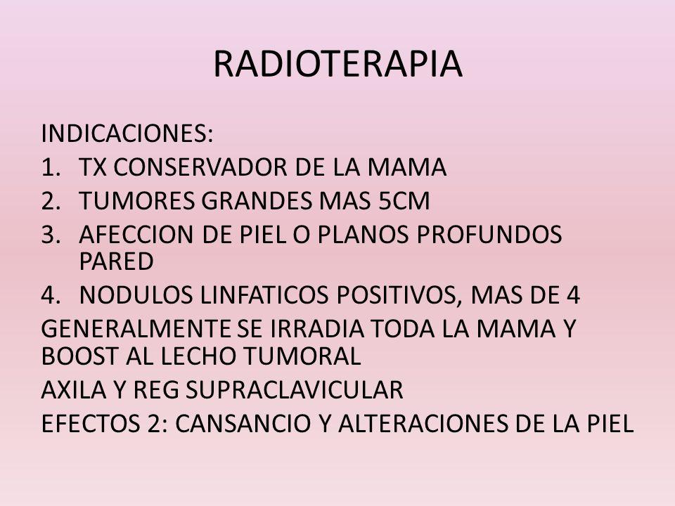 RADIOTERAPIA INDICACIONES: 1.TX CONSERVADOR DE LA MAMA 2.TUMORES GRANDES MAS 5CM 3.AFECCION DE PIEL O PLANOS PROFUNDOS PARED 4.NODULOS LINFATICOS POSI